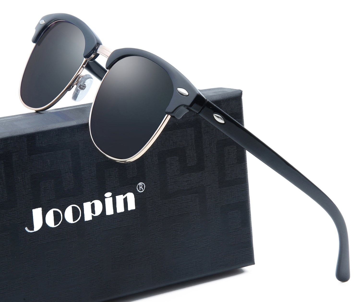 Joopin Semi Rimless Polarized Sunglasses Women Men Brand Vintage Glasses Plaroid Lens Sun Glasses (Brilliant Black Frame Grey Lens) by Joopin