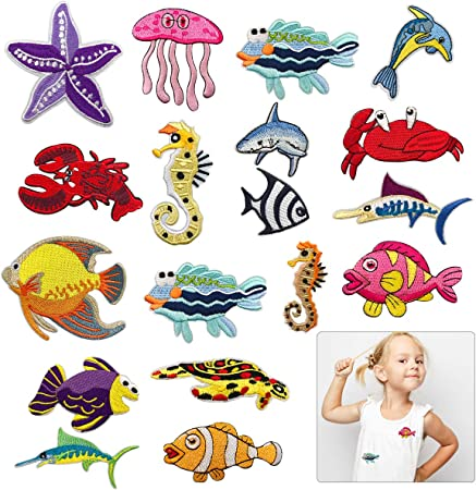 Caps Animal 12Pieces Iron on Patches 12 Pieces Cartoon Animal Embroidered Iron on//Sew on Decorative Applique Patch Patches for DIY Jeans Jackets Shirts Bag