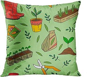 Sgvsdg Throw Pillow Covers Garden Tool Pattern Hand Drawn Gardening Images Gardener Farm Square Hidden Zipper Home Sofa Living Room Cushion Decor Pillowcases 20 x 20 Inch