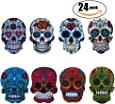Netany 24-Pack Sugar Skull Magnets with Refrigerator Magnets - Magnetic Pins, Dia de los Muertos   Day of the Dead, Full Color, Calavera, Death's Head Style, Mini Size About 1'' ( 3 Set )