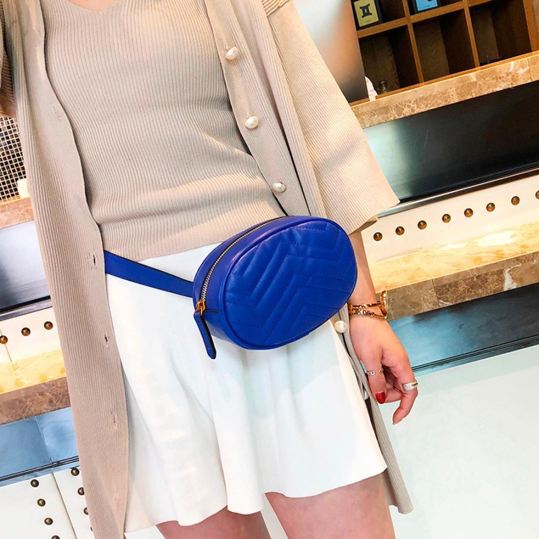 d833d72c327 Fossen Moda Mujer Riñoneras Bolso del pecho de cuero del color puro de   (Azul )