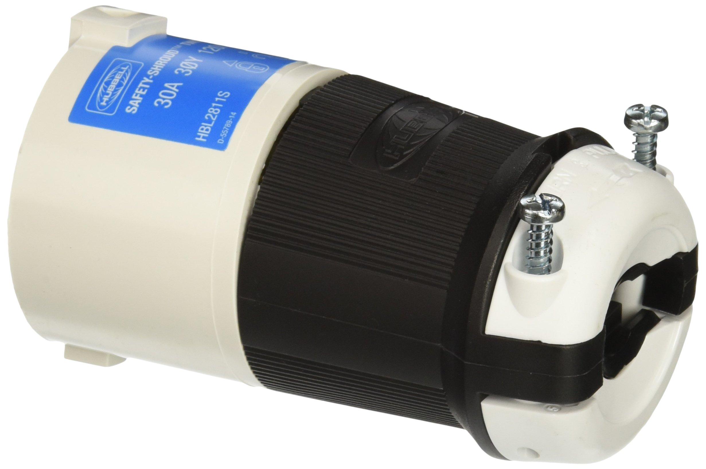 Hubbell HBL2811S Locking Safety Shroud Plug, 30 amp, 3 Phase, 120/208V, L21-30P