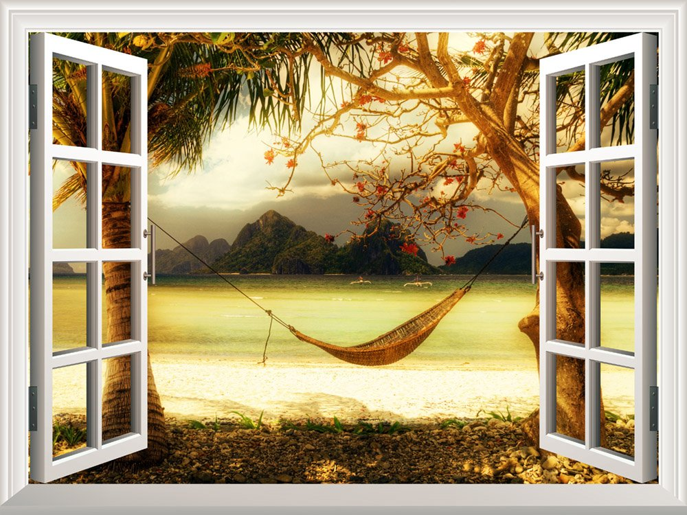Removable Wall Sticker/Wall Mural - Beautiful Tropical View with a Hammock | Creative Window View Wall Decor - 36''x48''