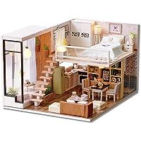 DIY Wooden Dollhouse Handmade Miniature Kit- Duplex Style Room Model & LED Light