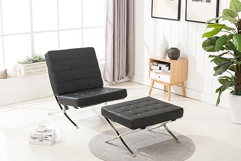 Ohrensessel mit hocker modern  MCombo Sessel Relaxsessel Liegestuhl Modern Lounge Stuhl PU Leder ...