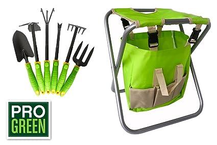 Amazon.com : Pro Green 6 Piece Garden Tool Set | Includes Folding ...