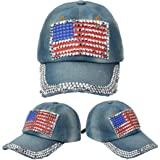 USA Bling Baseball Cap, Women Girls Sparkle Studded Rhinestone American Flag Denim Baseball Hat Jeans Rock Cap Adjustable