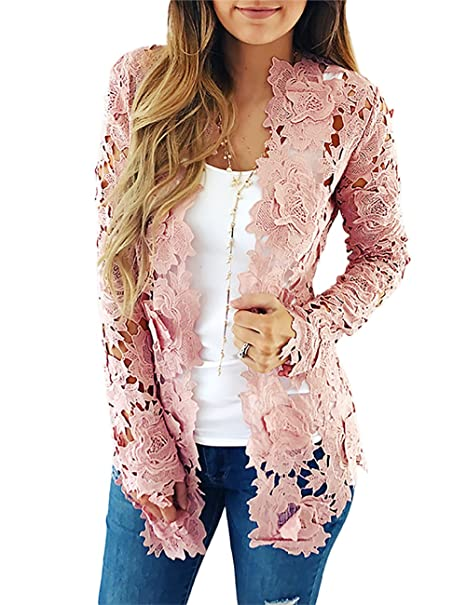 VintageRose Womens Lace Crochet Floral Hollow Out Cardigan Coat