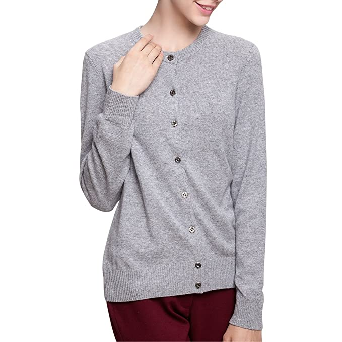b5d0d679a9 Image Unavailable. Image not available for. Color  SpringAir Women s 100%  Cashmere Button Front Crew Neck Soft Knit Cardigan Sweaters