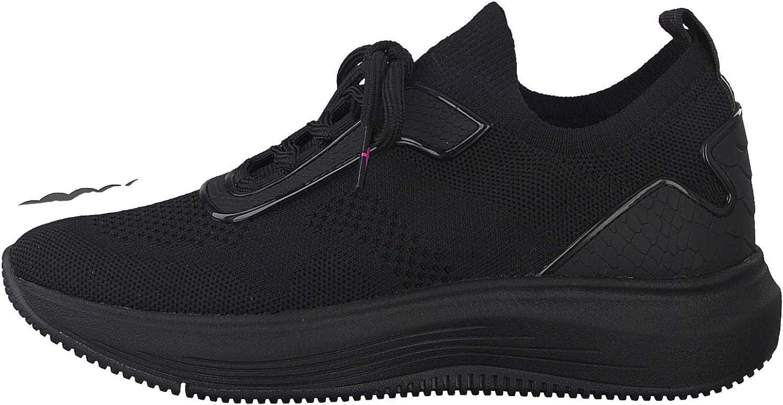 Tamaris Femme Chaussures à Lacets, Dame Chaussures de Sport,Semelle Amovible Noir Black Uni