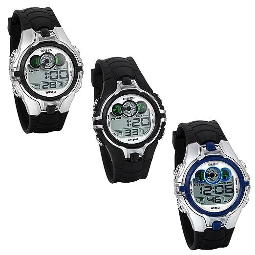 JewelryWe Relojes Deportivos Multifunción, Reloj Digital para Niños Estudiantes, Retroiluminación LED, Correa de