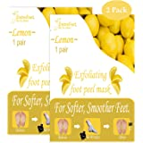 Dr. Entre's Exfoliating Foot Peel Mask | 2 Lemon Pairs | Natural Exfoliant For Smooth Baby Soft Feet, Dry Dead Skin Treatment, Repair Rough Heels, Callus Remover Sock Booties