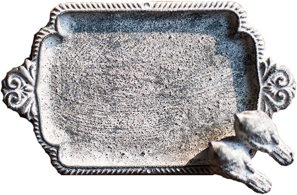 Cenicero Caja de jabón de Hierro Fundido Retro baño decoración (Color : B)