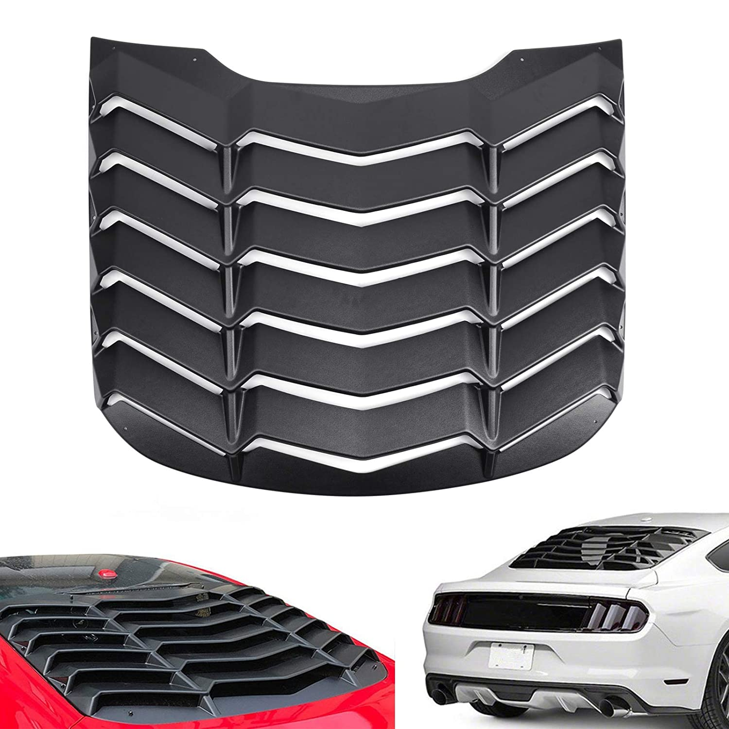 Artudatech Rear Window Louver Windshield Sun Shade Cover Matte Black ABS For Mustang 2015-2018