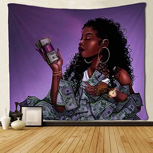SARA NELL Black Art Tapestry Wall Tapestry Afro African Women African Ameircan Women Girl Love Us Dollor Money Wall Hanging Tapestries Tapestry for Living Room Bedroom Dorm Decor 60×90 Inches