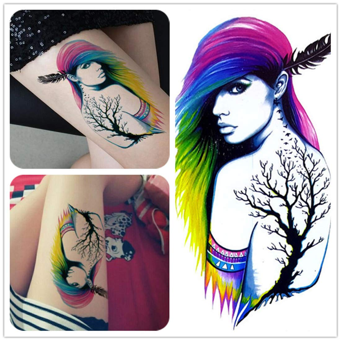 S A V I Temporary Tattoo For Girls Men Women 3d Beautiful Long Hair Women Sticker Size 19x12cm 1pc Black 4 G Amazon In Beauty