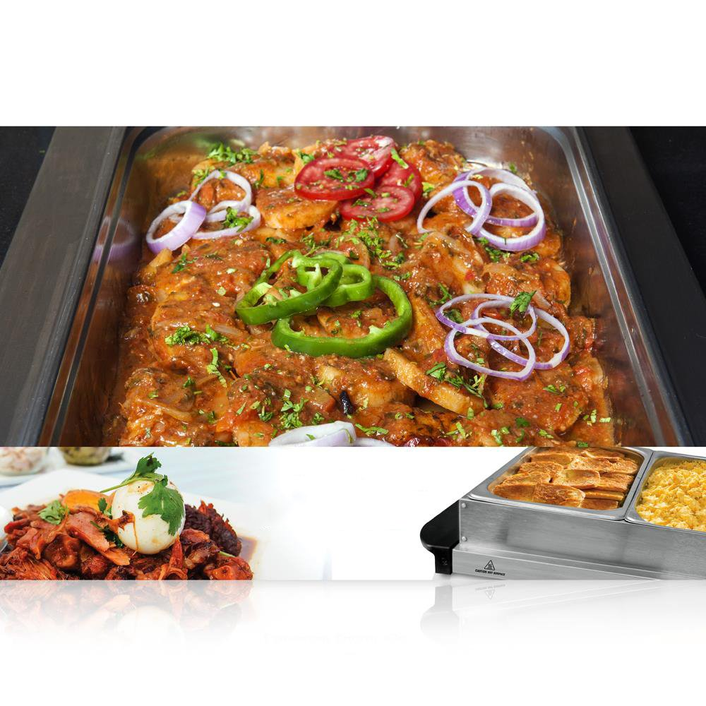 NutriChef 3 Tray Buffet Server & Hot Plate Food Warmer   Tabletop Electric Food Warming Tray   Easy Clean Stainless Steel   Portable & Great for Parties & Events   Max Temp 175F   (PKBFWM33.V7) by NutriChef (Image #4)