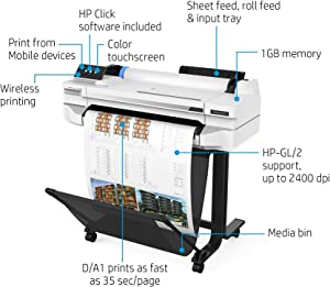 "HP DesignJet T525 Large Format Wireless Plotter Printer - 24"", with Mobile Printing (5ZY59A)"