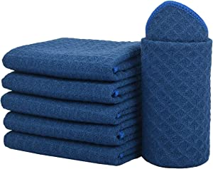 SINLAND Thick Microfiber Dish Cloths Waffle Weave Kitchen Cleaning Cloth Dish Rags 13inch X 13inch 6 Pack Navy Blue