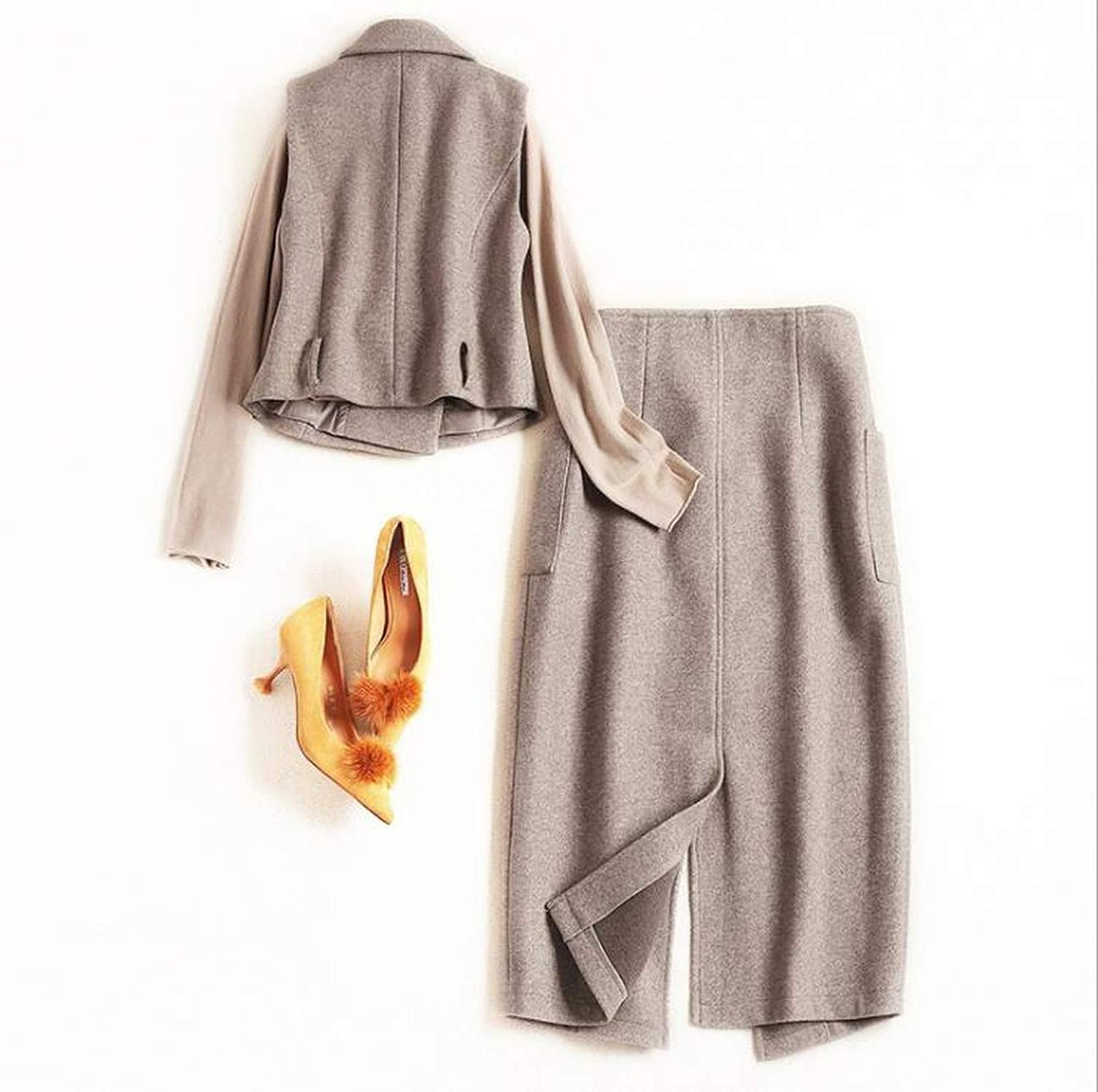 Womens Clothing Winter Style Long-Sleeved Sweater Ma3 Jia3 Skirts Three-Piece Suit,Khaki,XL