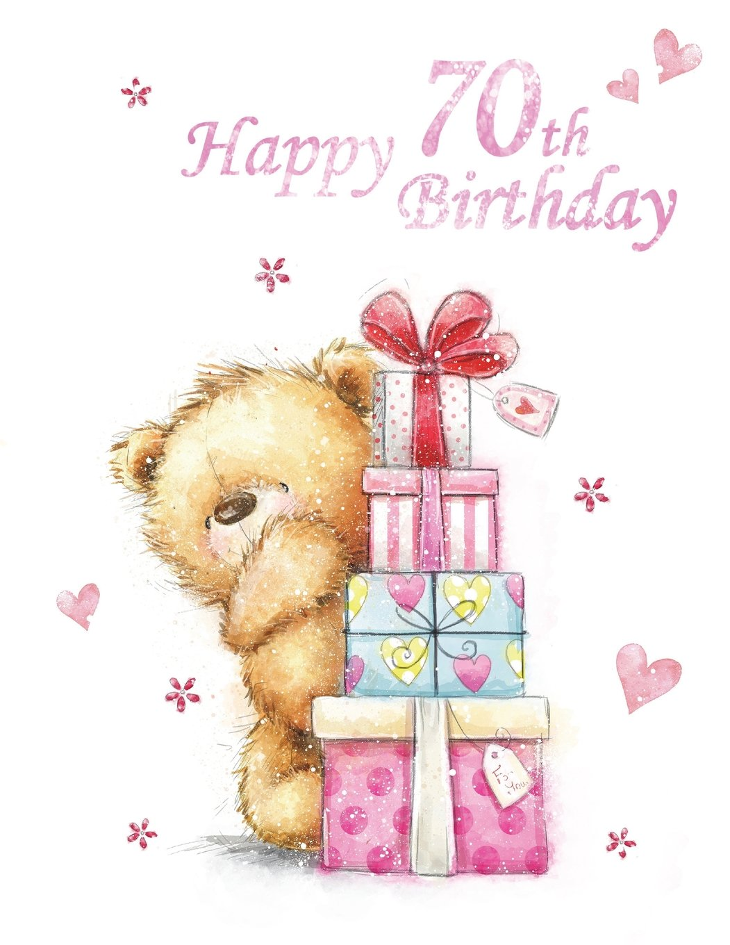 Happy 70th Birthday Notebook Journal Dairy 185 Lined Pages Cute Teddy Bear Themed Gifts For 70 Year Old Men Or Women Brother Sister