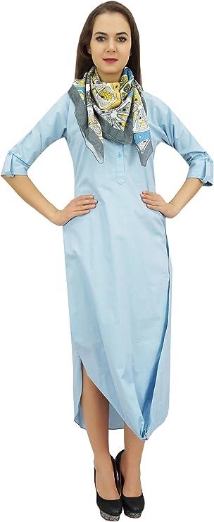 bimba damskie 3/4 rękawy zrelaksowaną kaptur gugel Loose Maxi sukienka z szal: Odzież