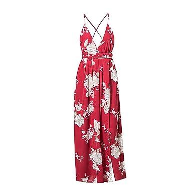 Girl Red Sexy V Neck Women Dresses Boho Sleeveless Dress Backless Maxi Split Long Vestidos,