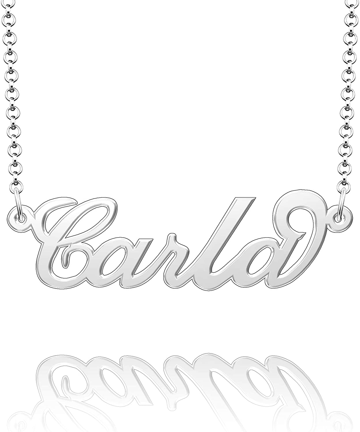 Moonlight Collections Script Necklace 926 Sterling Silver Pendant Chain Personalized Necklace Carla