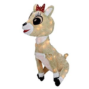 "15"" Pre-lit Rudolph The Red Nosed Reindeer Clarice Christmas Outdoor Decoration - Clear Lights"