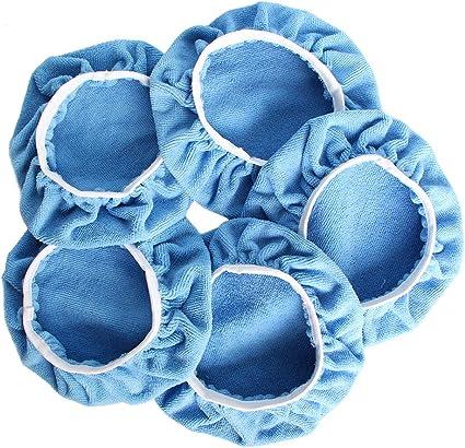 "5PCS 9-10/"" Blue Microfiber Buffing Pads Car Polishing Wax Buffer Bonnets Covers"