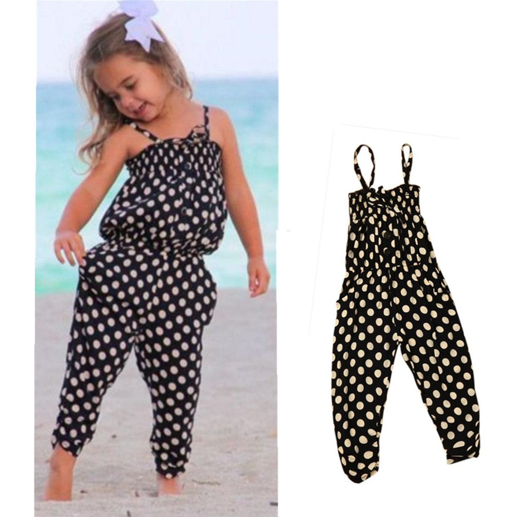 Franterd Baby Girls Straps Rompers Toddler Kid Jumpsuits Piece Harem Pants Clothing
