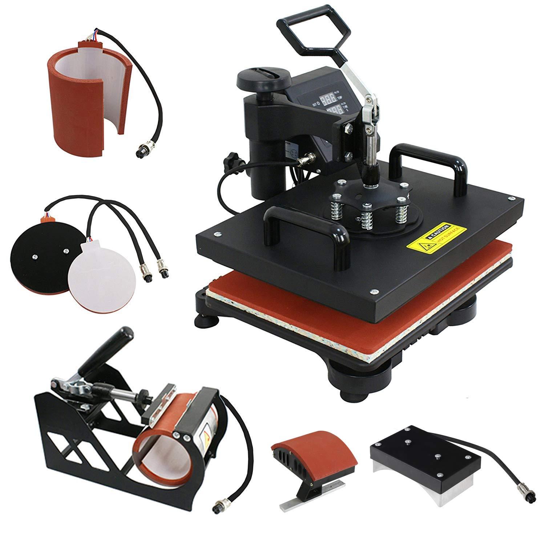 F2C Pro 5 in 1 Combo Heat Press Machine T-Shirt Hat Cap Mug Plate Digital Transfer Sublimation Machine New Black (5 in 1 Swing Away) by F2C