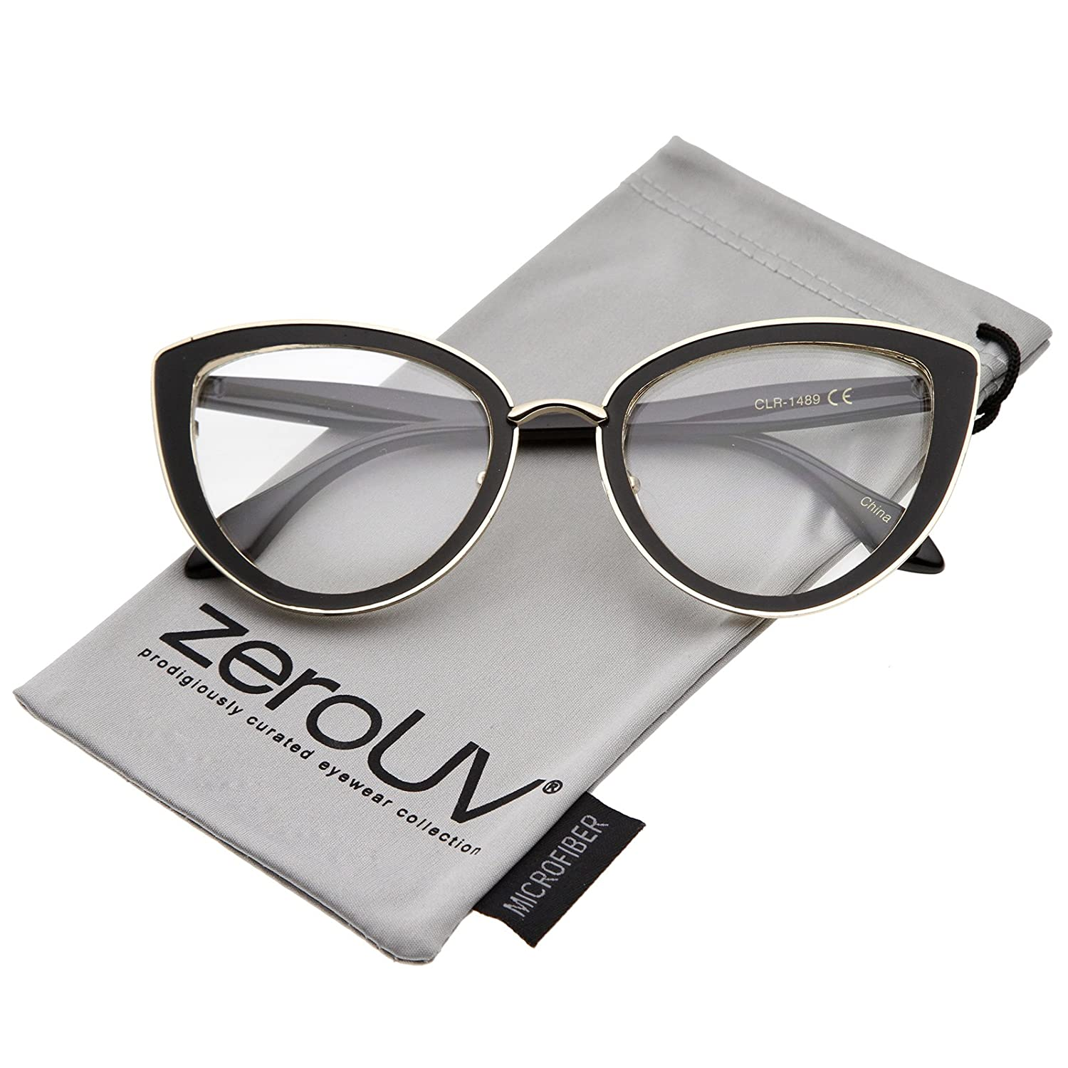 dc33c96a89e Amazon.com  zeroUV - Women s High Sitting Temples Teardrop Clear Lens Cat  Eye Glasses 53mm (Brown-Gold-Tortoise Clear)  Clothing