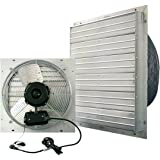 J&D Mfg. 3 Speed 12 Inch UL507 Outdoor Rated Wall Exhaust Fan With Automatic Shutters & Cord 1100 CFM VPES12