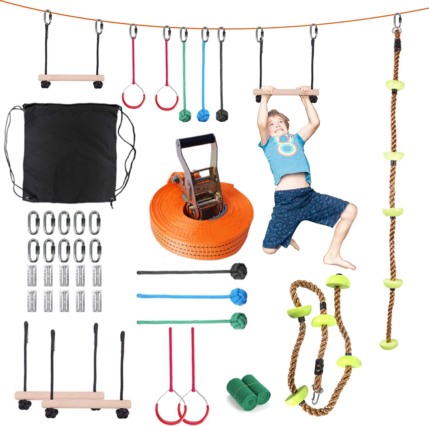 leofit Ninja Warrior Obstacle Course Slackline for Kids 40 Foot Monkey Bar Kit with Climbing Rope 8 Hanging Obstacles Training Line for Backyard Garden Park Playground Equipment