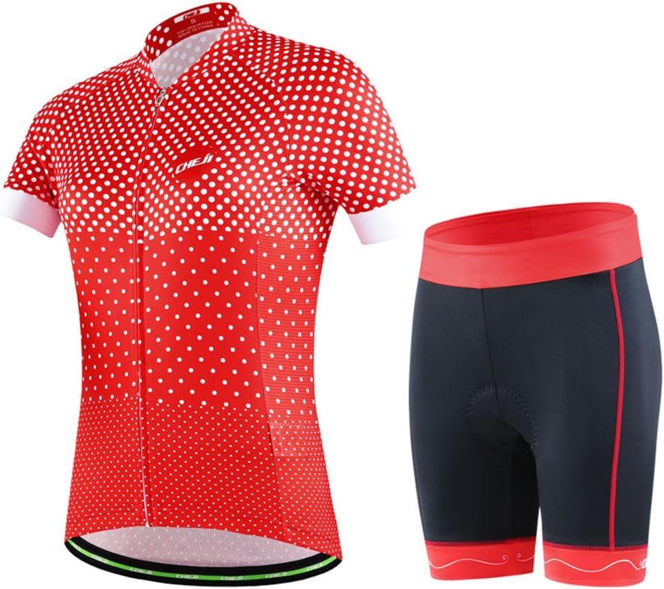 GWELL de Ciclismo para Mujer Set Bicicleta Ropa Transpirable Bicicleta Camiseta Manga Corta Cilindro de Pantalones con 3D Asiento Acolchado