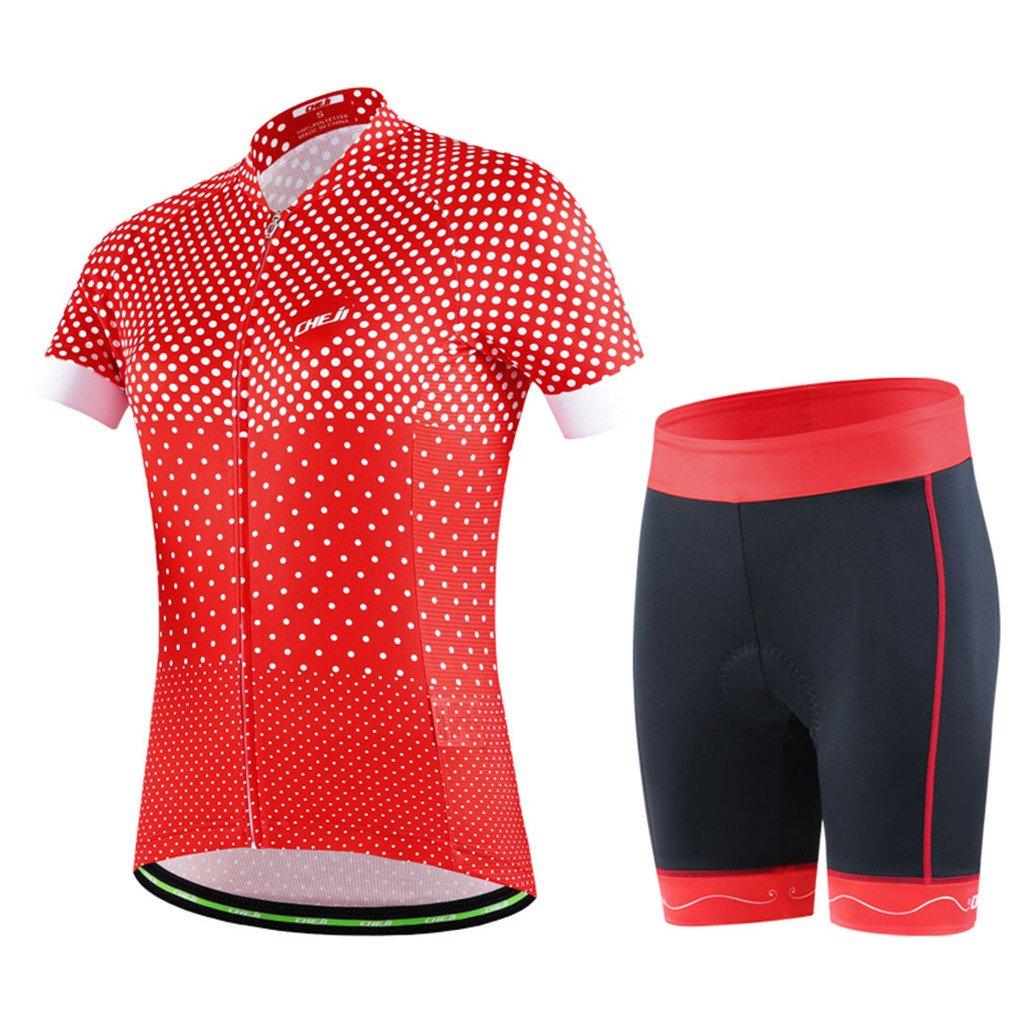 GWELL Damen Fahrradtrikot Set Fahrradbekleidung Atmungsaktiv Fahrrad Trikot Kurzarm + Radhose mit 3D Sitzpolster