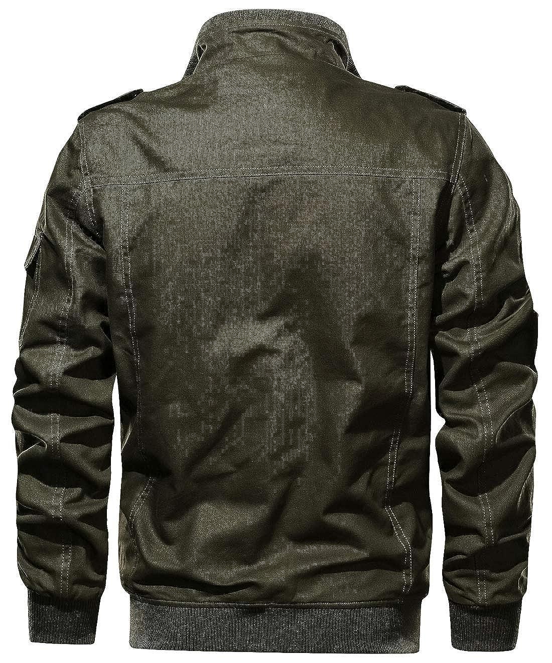 chouyatou Mens Casual Multi Pocket Zip Front Lightweight Work Windbreaker Bomber Jacket