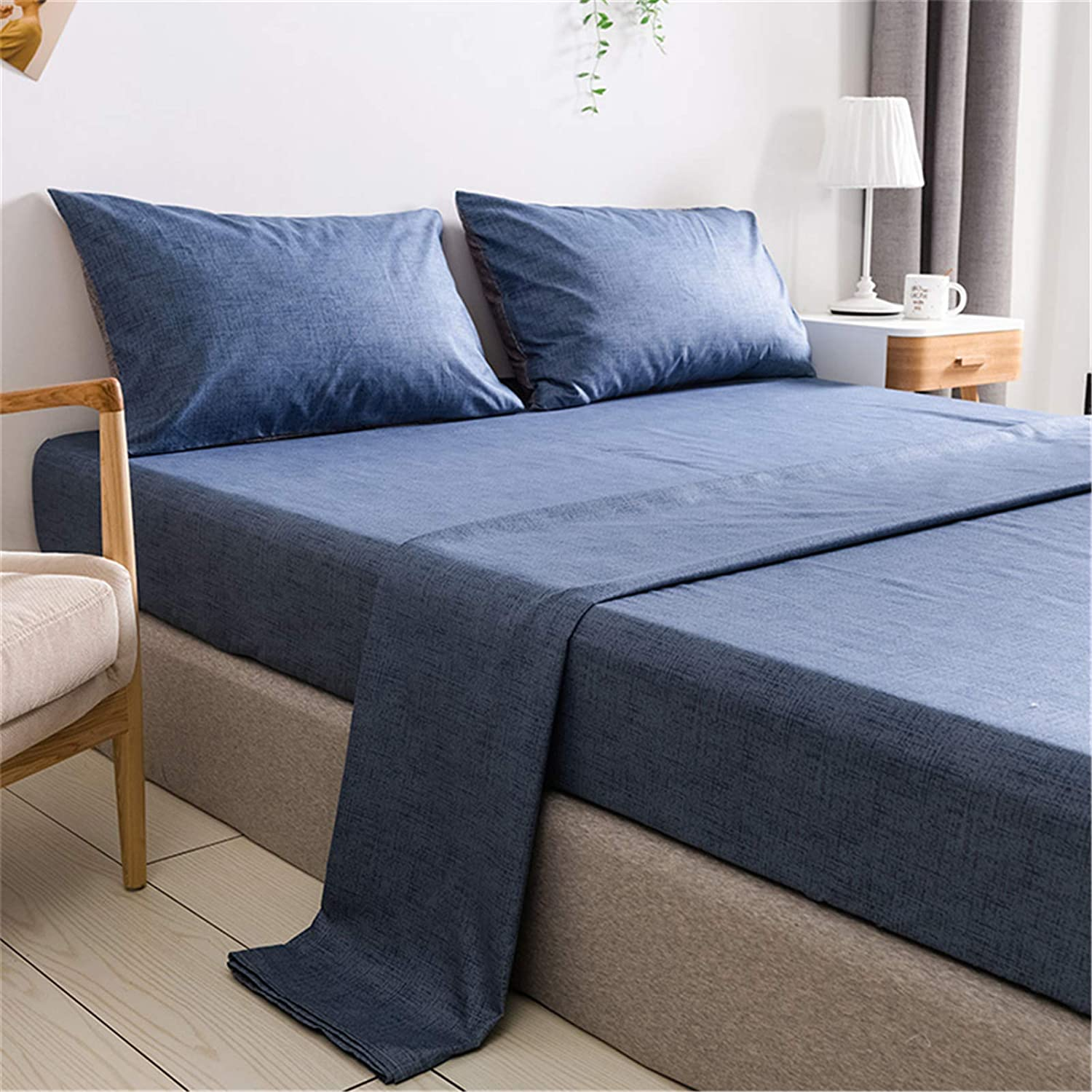 Amazon Com Omelas 4 Pcs Blue Bed Sheets Set Queen Size Kids Teens Soft Microfiber Sheets Modern Farmhouse Plain Bedding Set 1 Deep Pockets Fitted Sheet 1 Solid Colored Flat Sheet