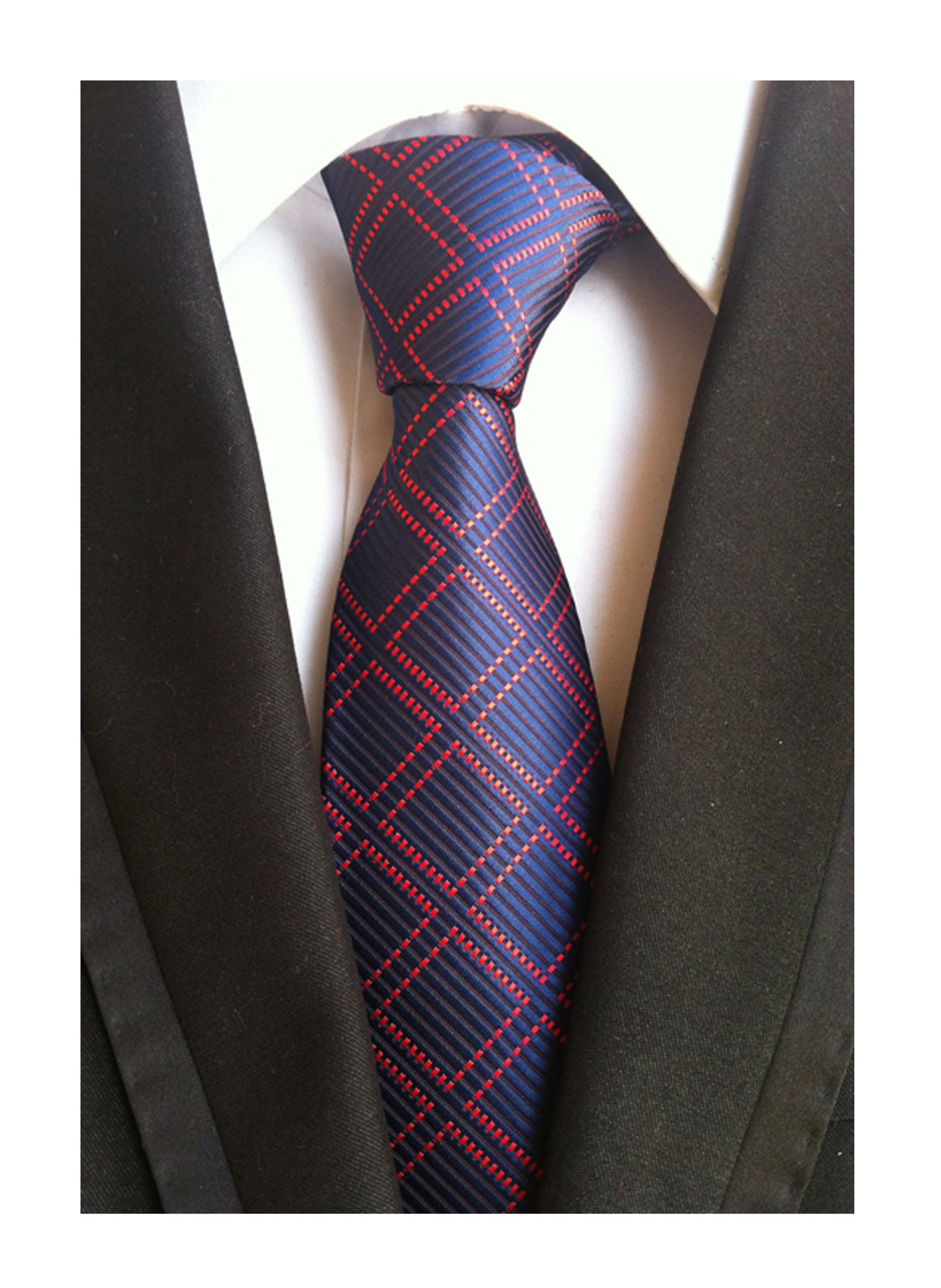 Men's Red and Navy BLUE Ties Checks Patterned Graduation Student Silk Neckties