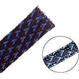 25ft - 1/2 inch Flexo PET Expandable Braided Sleeving – BlackBlue – Alex Tech Braided Cable Sleeve