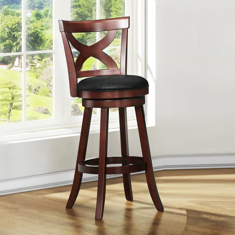 Homelegance Basalt Swivel X Back Bar Stool – Dark Cherry