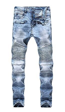 0f479ed074a6 COLINNA Men's Moto Biker Vintage Distressed Ripped Slim Fit Skinny Stretch  Denim Jeans
