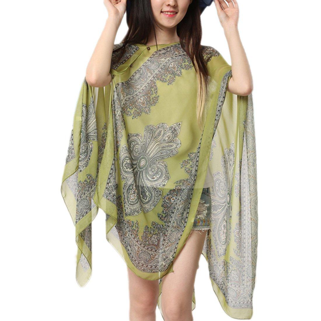 Sommer Damen Chiffon Beachwear Schals Poncho Bikini Cover-up Batwing  Chiffonbluse Tops: Amazon.de: Bekleidung