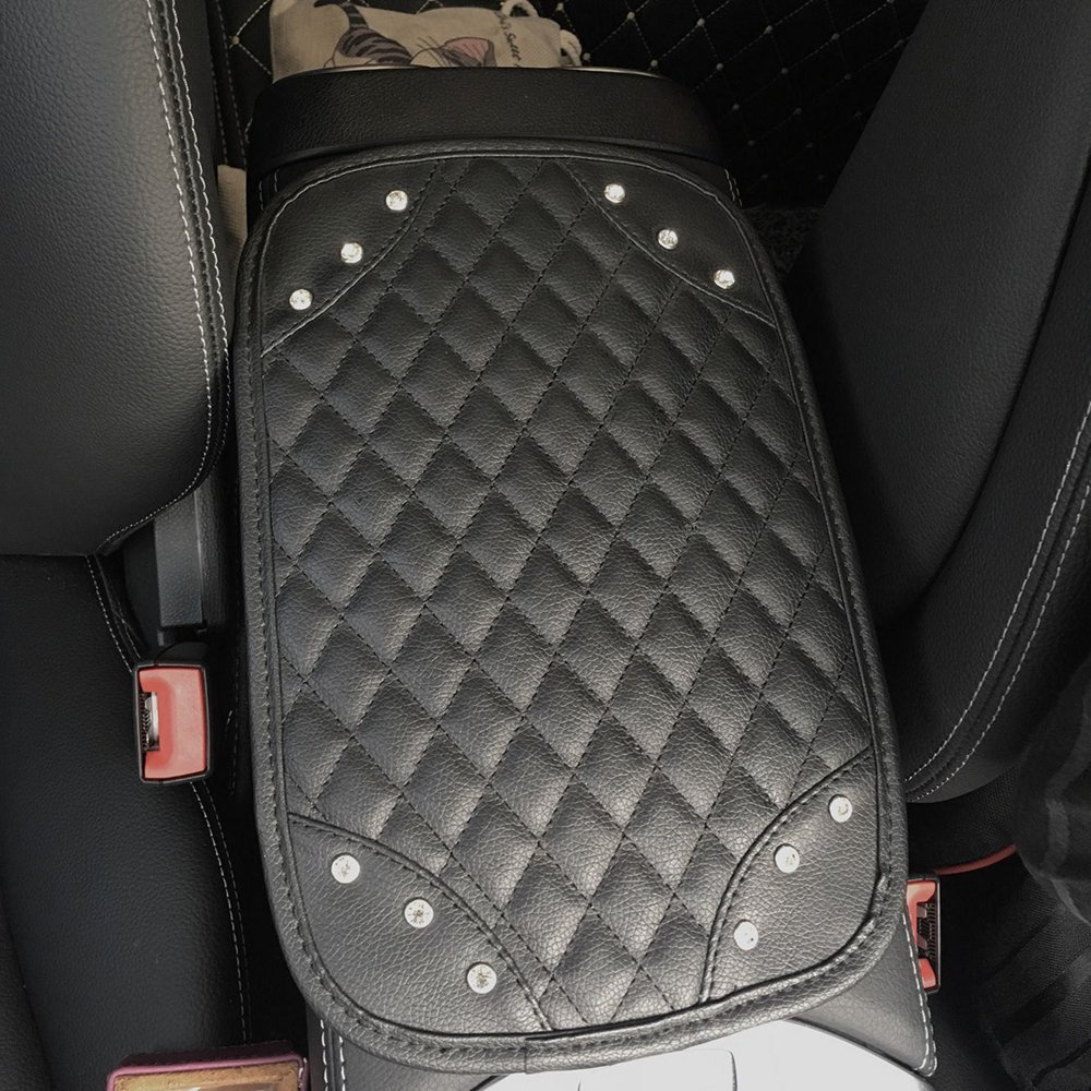 Alusbell Auto Center Console Pad Car Armrest Seat Box Cover Protector Universal Fit Carbon Fiber Leather