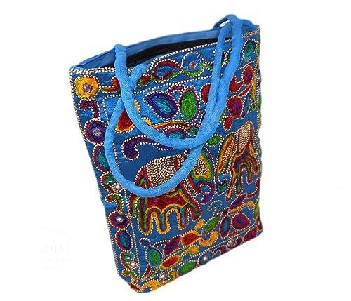 India Colors. Bolso hindú de diseño. Bolsa de viaje, portafolios, de playa o funda de pc o tablet. Artesanal. Hecho a mano en India. Telas bordadas ...