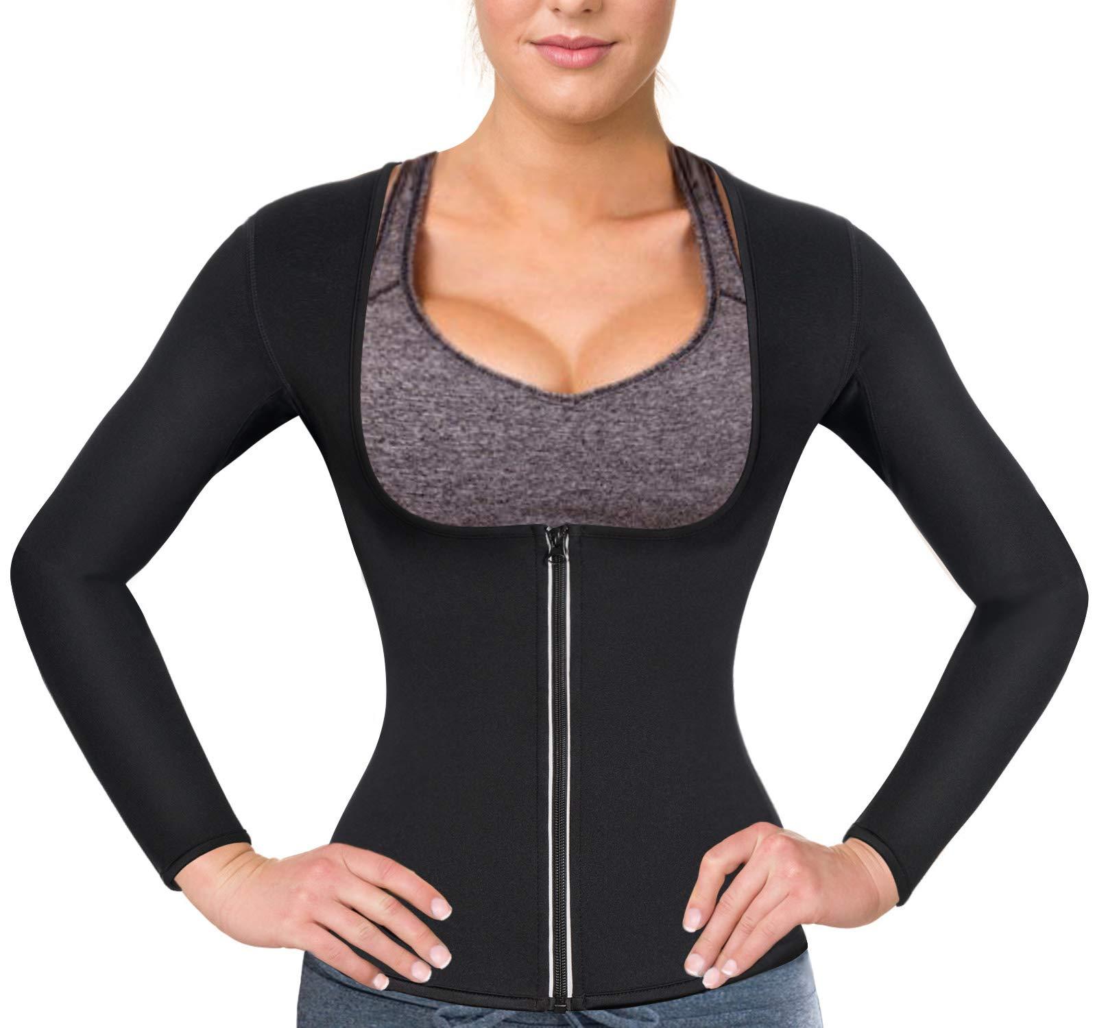 Women Sauna Suit Waist Trainer Neoprene Shirt for Sport Workout Weight Loss Corset Hot Body Shaper Top (S, Black#2 Long Sleeves)