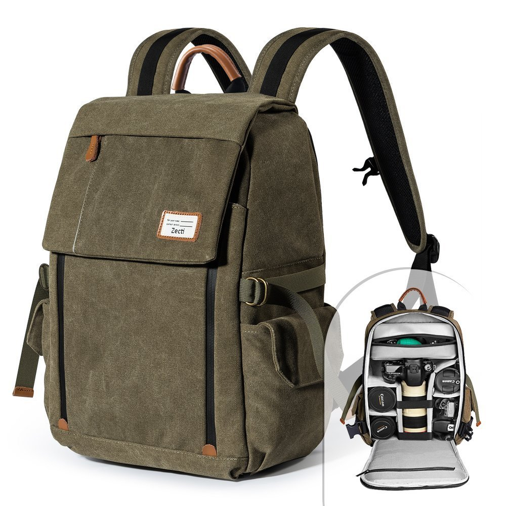Amazon.com  Camera Backpack Zecti Waterproof Canvas Professional Camera Bag  for Laptop and Other Digital Camera Accessories with Rain Cover-Green   Office ...