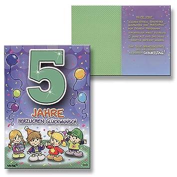 Archie Geburtstagskarte zum 5. Geburtstag Junge grün
