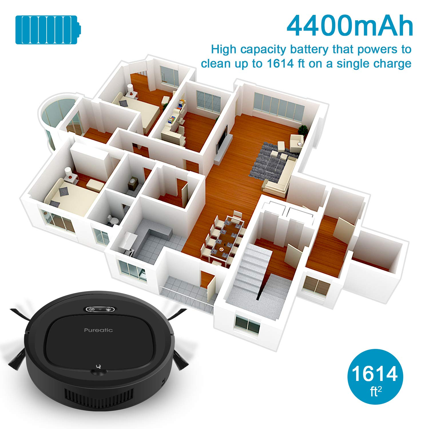 Good for Pet Hair Hard Floors Self-Charging Dual Remote and App Control 1500PA Strong Suction Wi-Fi Connected Low Pile Carpet V2S Standard Pureatic V2S Robot Vacuum Cleaner with Smart Mapping